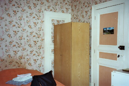...the remaining corner of the room with my wardrobe and the door to my room, now closed.  Let's go outside now and see...