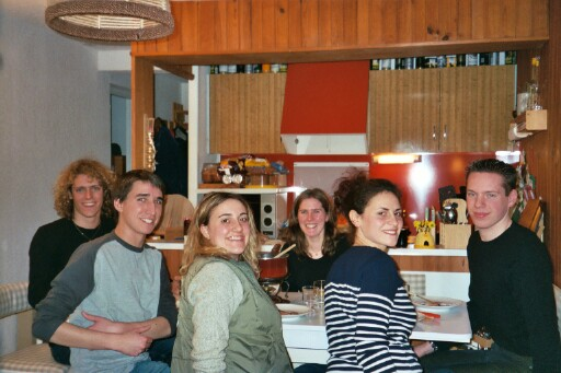 Philippe, Matthieu, Aline, Angelique, Celine, and Thomas at dinner