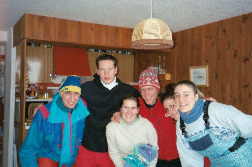 Matthieu, Thomas, Angelique, Philippe, Celine and Aline ready for a day of skiing
