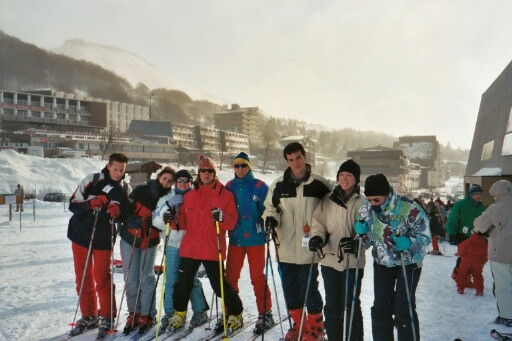 Thomas, Celine, Aline, Philippe, Matthieu, Lucas, Laetitia, and Angelique ready to hit the slopes