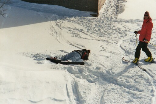 a skier who shall not be named, horizontal