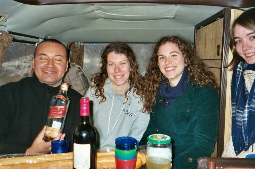 lunch in the Orange Van - Nelson, Jennifer, Renata and me