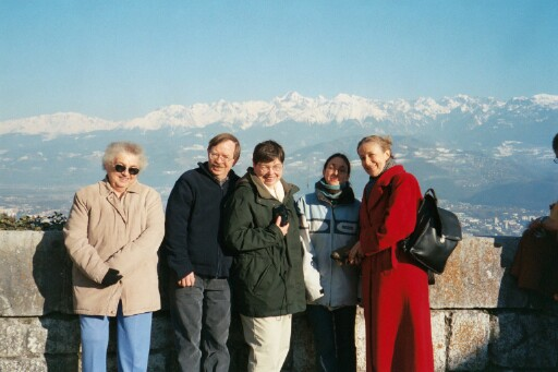 Grandma, Daddy, Mommy, Sophie, and Françoise at the top of the Bastille