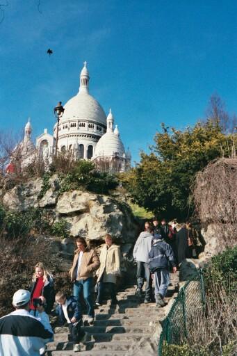 steps up to Sacre-Coeur
