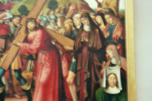 painting in the Louvre entitled (by me) 'Woman Selling Commemorative Crucifixion Tea Towels'