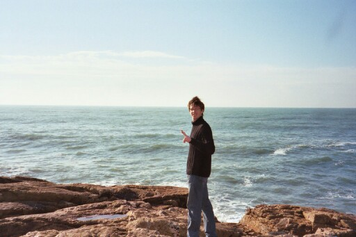 Antoine in front of the sea at the Sables d'Olonne