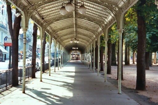 covered walkway in the Parc des Sources