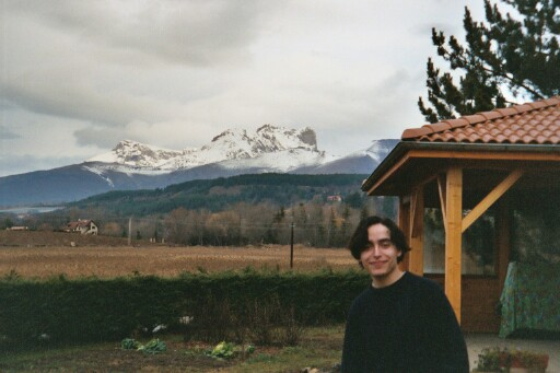 Alex in front of the Ceüze mountain, taken from Brigitte and Michel's yard