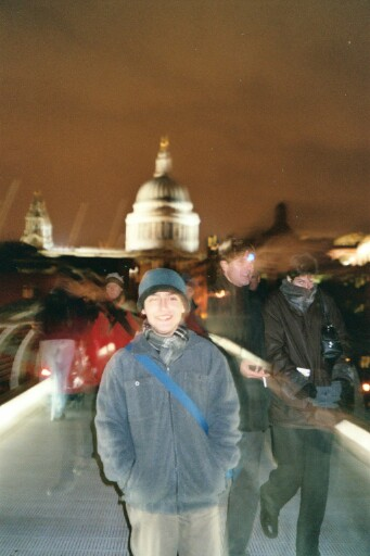 very scary photo of Alex on the Millenium Bridge at night